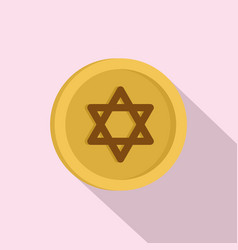 jewish gold coin icon flat style vector image
