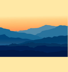 landscape with twilight in blue mountains vector image