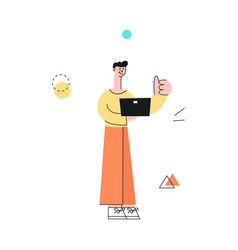 Man with notebook showing thumbs up vector