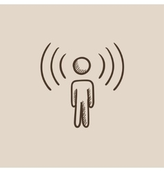 Man with soundwaves sketch icon vector image