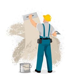 master plastering wall vector image