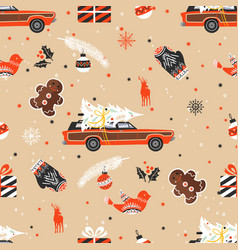 Merry christmas seamless pattern with christmas vector
