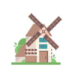 modern rural windmill building ecological vector image