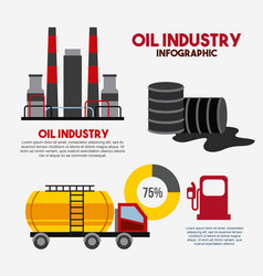 oil industry infographic factory transport barrel vector image