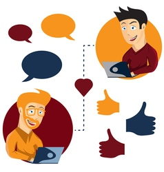 online dating man and man app icons in cartoon vector image