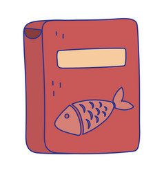 pet cat food box with fish product icon design vector image