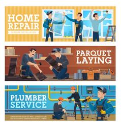 plumber service home repair worker banner vector image