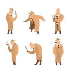 policeman or detective search criminal set vector image