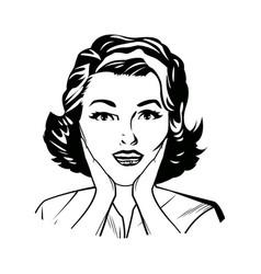 portrait woman pop art surprised expression black vector image