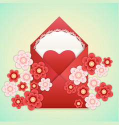 Realistic envelope with heart lace and flowers vector