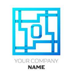 Realistic letter o logo in colorful square maze vector