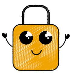 Safe secure padlock kawaii character vector