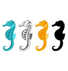 sea horse cute cartoon flat set vector image