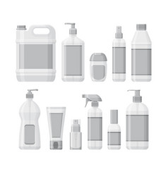 Set bottles with antiseptic and hand sanitizer vector