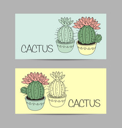 set horizontal banners with cactus vector image