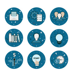 Set of 9 business icons - blue flatstyle vector