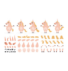 Set of cartoon fantastic unicorn elements for vector