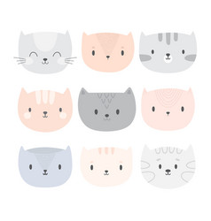 Set of cute cartoon cats funny doodle animals vector