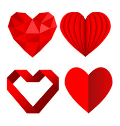 Set of red heart symbols love from crumpled paper vector