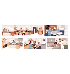 set scenes in vet clinic doctors examining vector image