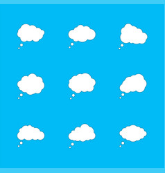 set white clouds with shadow speech bubbles vector image