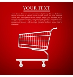 Shopping cart flat icon on red background vector image vector image