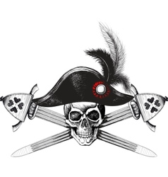 Skull in the captain hat and two crossed swords vector