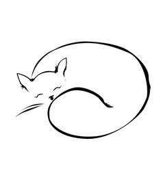 sleeping cat line vector image