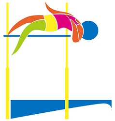 Sport icon design for high jump in colors vector image vector image