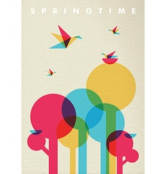 Spring time nature tree forest and birds vector image