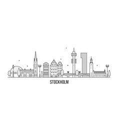 Stockholm skyline sweden big city buildings vector