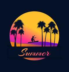 summer background with a surfer and palm trees on vector image