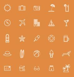 Summer line icons on orange background vector