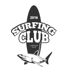 Surfing club logo with board and shark vector image
