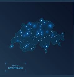 Switzerland map with cities luminous dots - neon vector