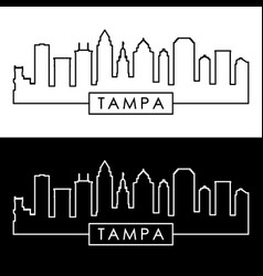 tampa skyline linear style editable file vector image