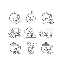 Tea and tea-like beverages linear icons set vector