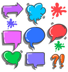 Text balloon colorful style collection vector