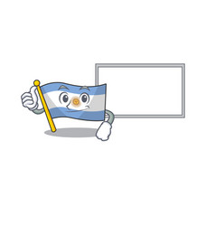 Thumbs up with board flag argentina cartoon the vector