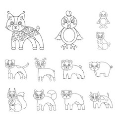 Toy animals outline icons in set collection for vector
