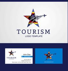 Travel swaziland flag creative star logo vector