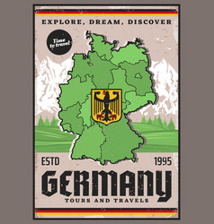 travel to germany german map eagle coat arms vector image