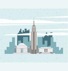 Usa monuments cityscape vector