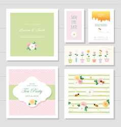 Wedding or birthday card templates set decorated vector