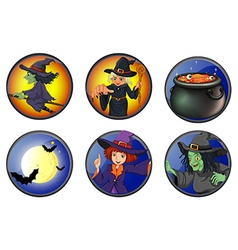 Witches and halloween elements on badges vector
