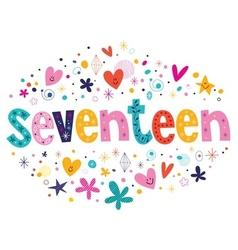 word seventeen retro typography lettering vector image