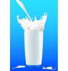 Pouring milk in a glass on blue background vector image