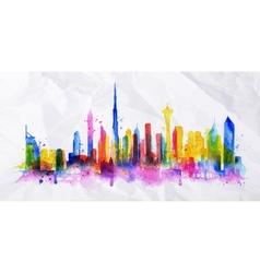Silhouette overlay city Dubai vector image vector image