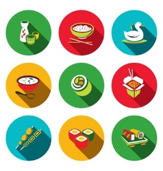 Sushi flat Icons Set vector image vector image