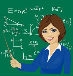 young math teacher standing next to blackboard vector image